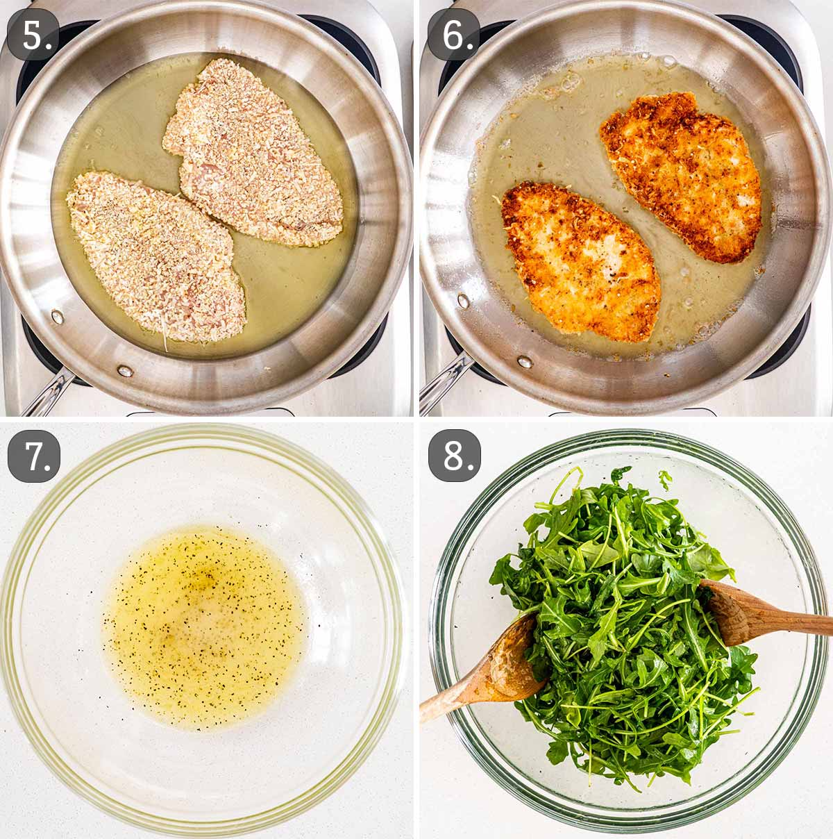 process shots showing how to cook chicken milanese and make arugula salad.