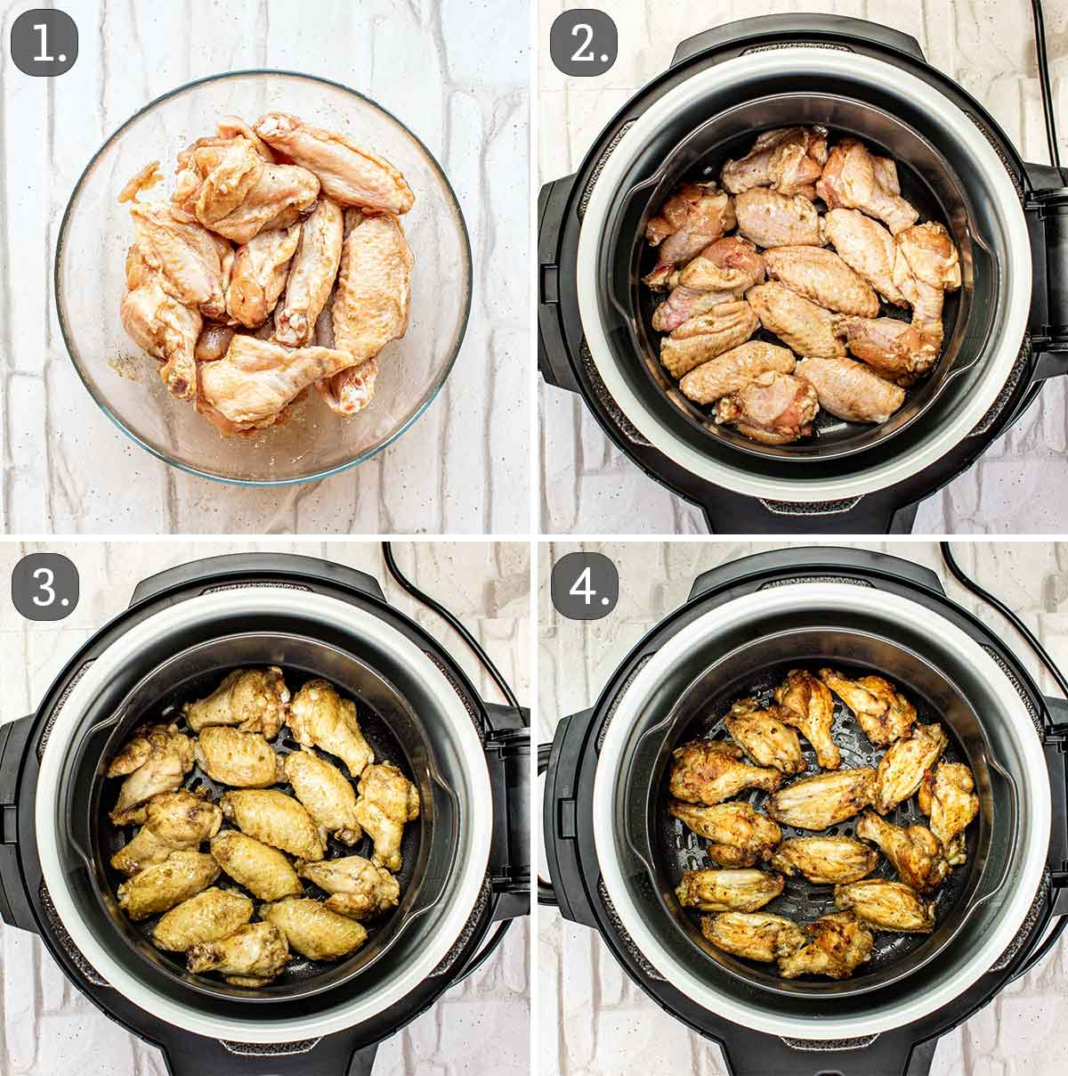 detailed process shots showing how to make chicken wings in the air fryer.