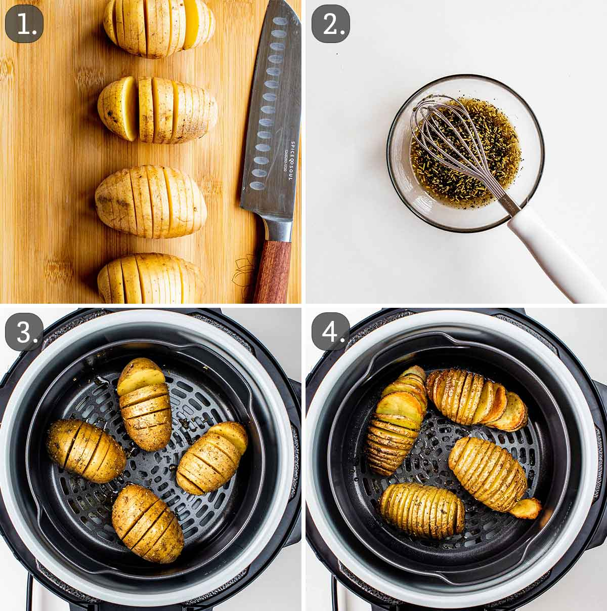 process shots showing how to make hasselback potatoes in the air fryer.