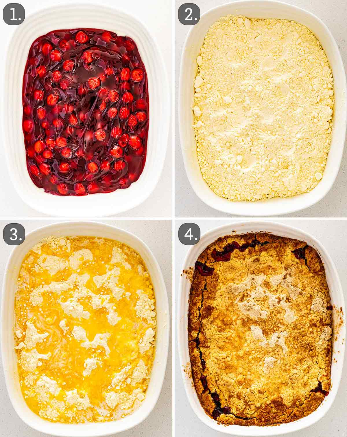 process shots showing how to make cherry dump cake.