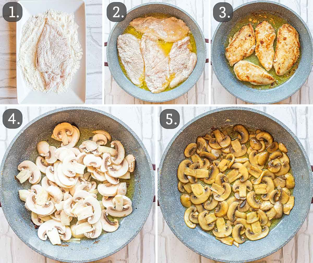 process shots showing how to cook chicken and mushrooms for chicken marsala.