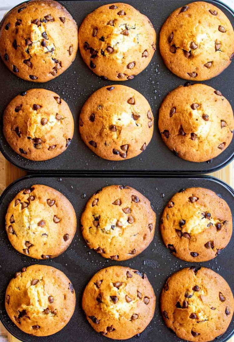 freshly baked chocolate chip muffins in muffin pan.