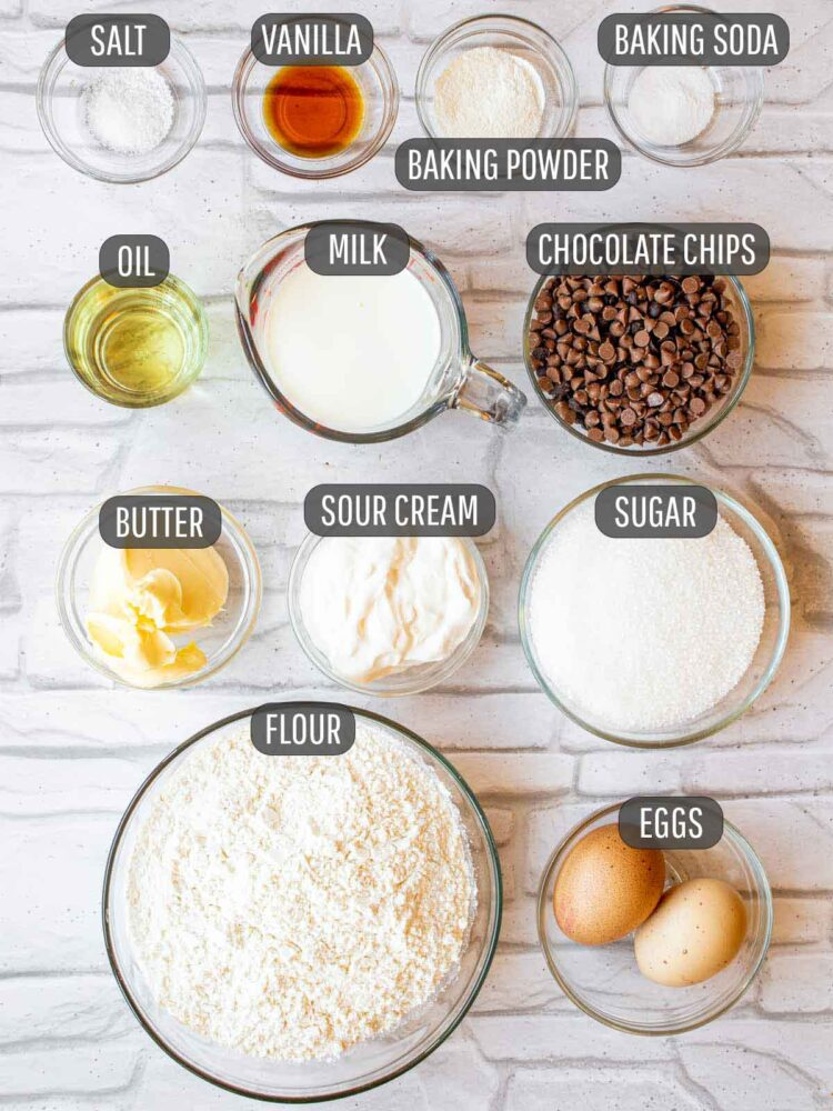 overhead shot of ingredients needed to make chocolate chip muffins.