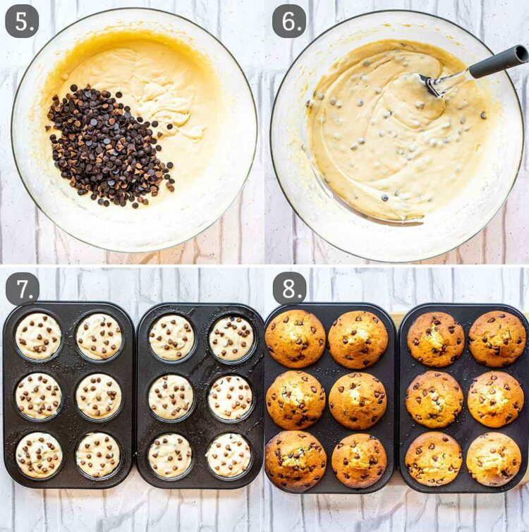 process shots showing how to add chocolate chips to muffin batter and bake them.