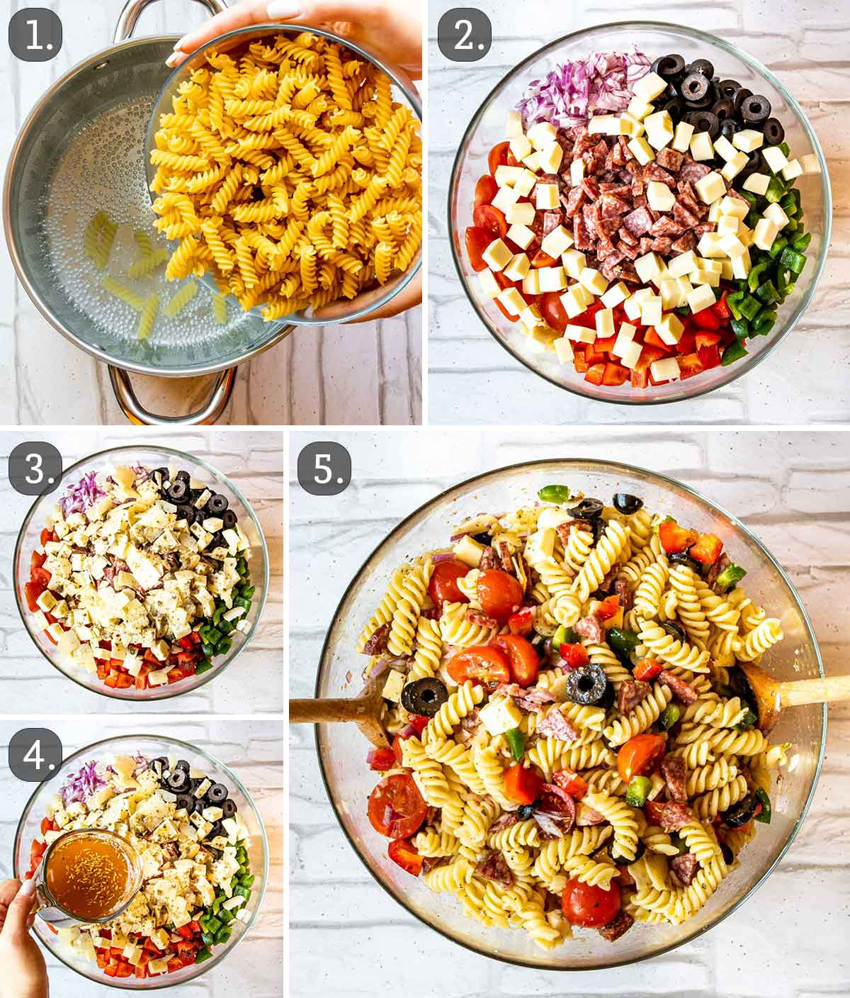 detailed process shots showing how to make italian pasta salad.