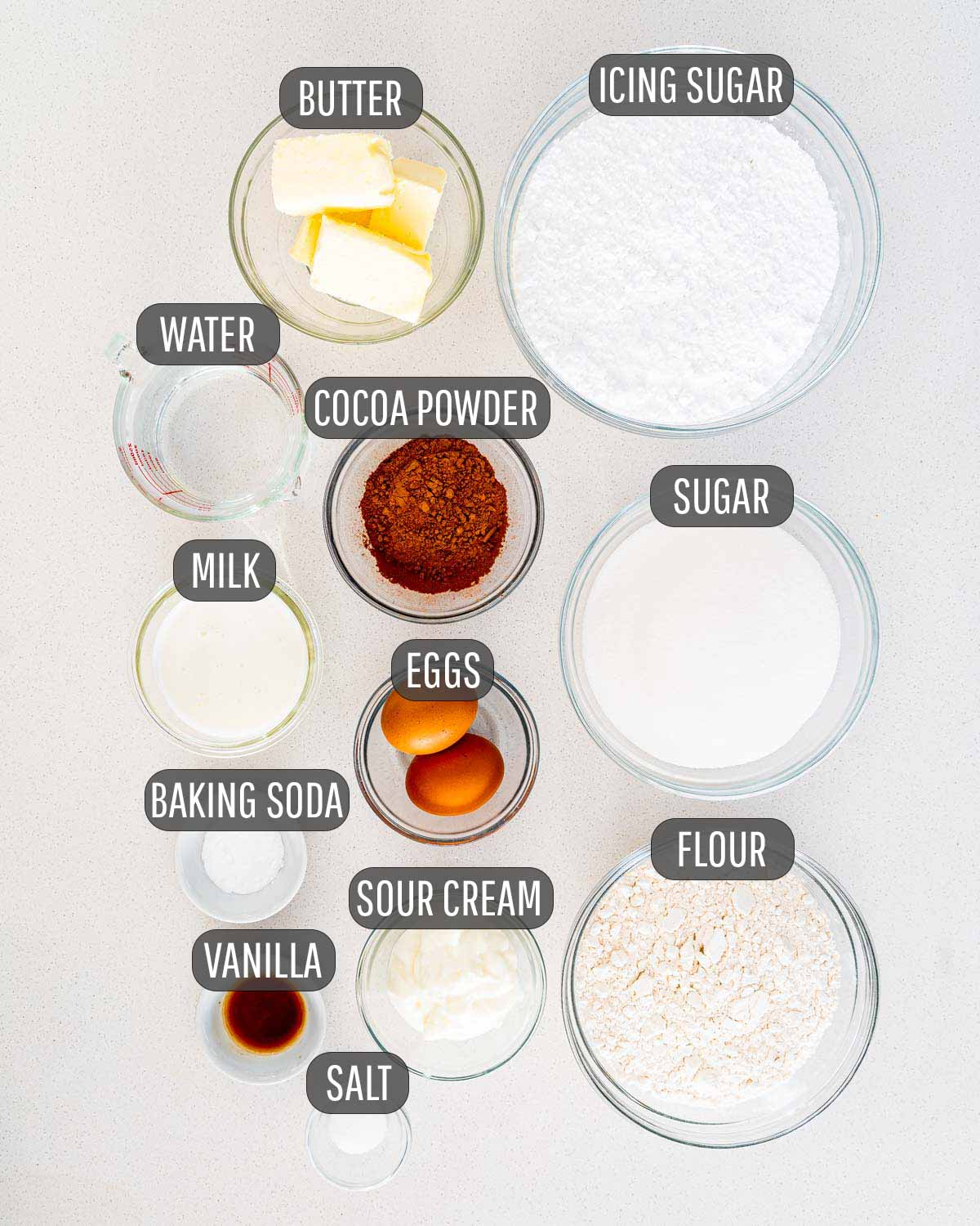 overhead shot of ingredients needed to make texas sheet cake.
