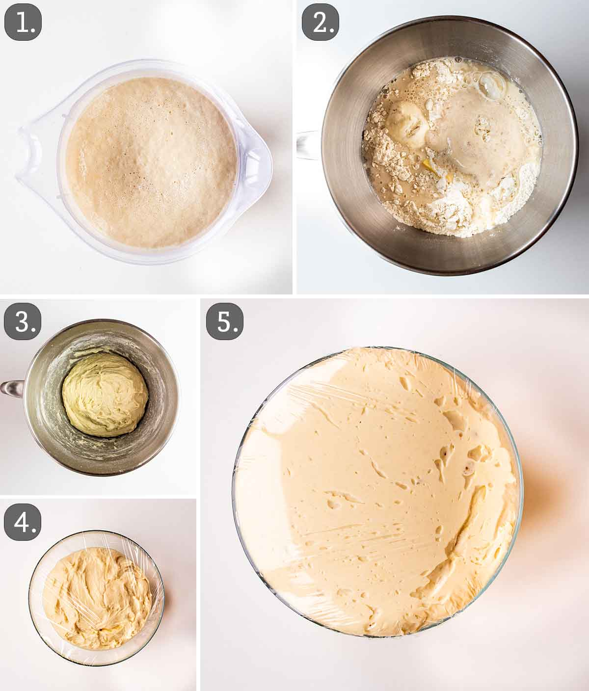 process shots showing how to make dough for breadsticks.