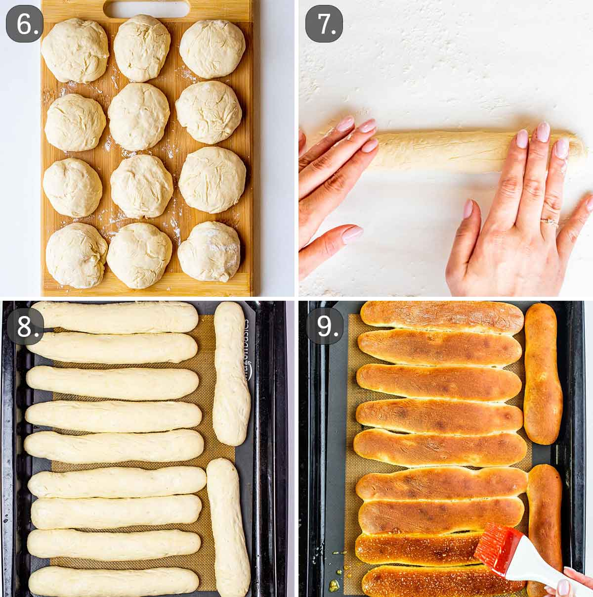 process shots showing how to shape breadsticks and bake them.