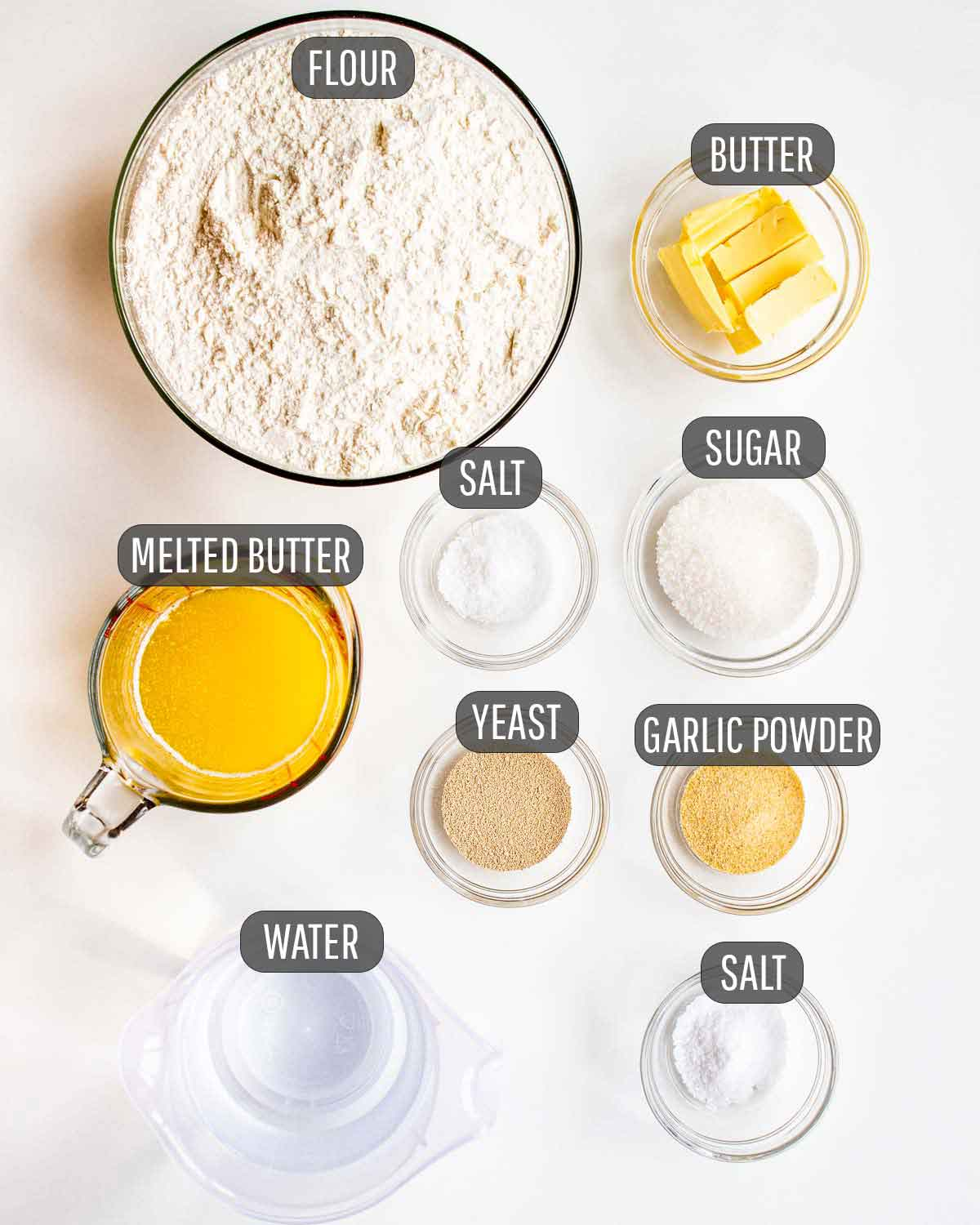 overhead shot of all ingredients needed to make breadsticks.