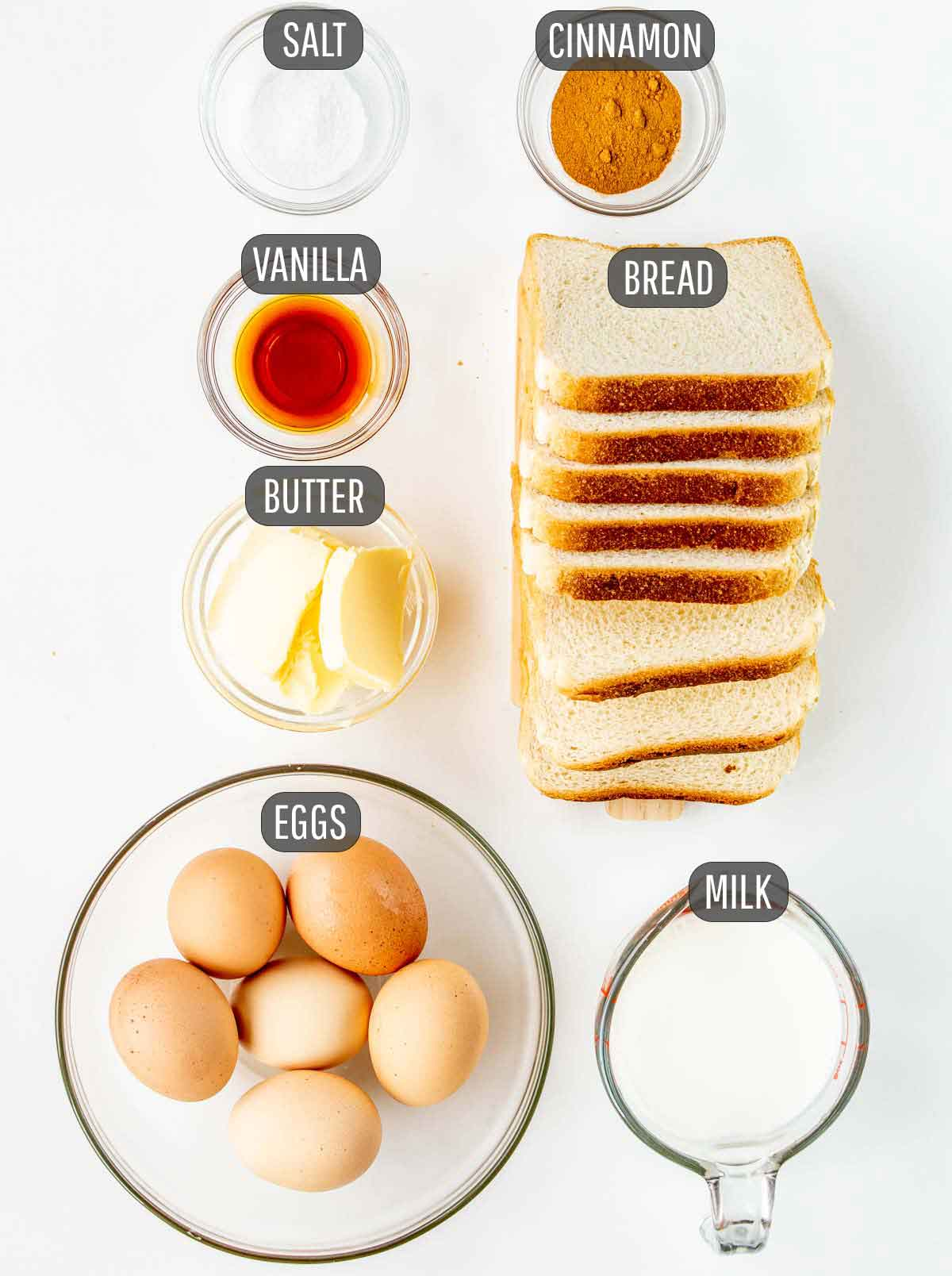 overhead shot of ingredients needed to make french toast.