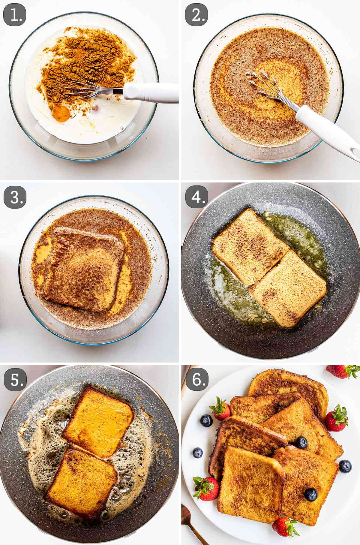 detailed process shots, showing how to make french toast.