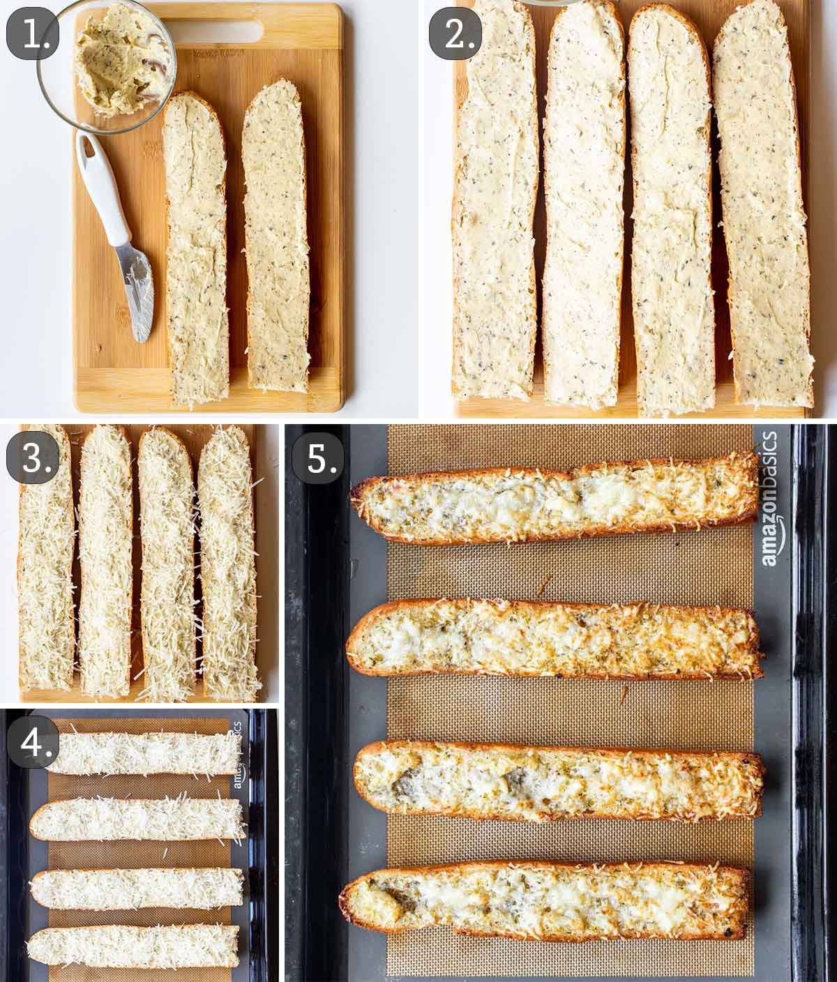 detailed process shots showing how to make garlic bread.