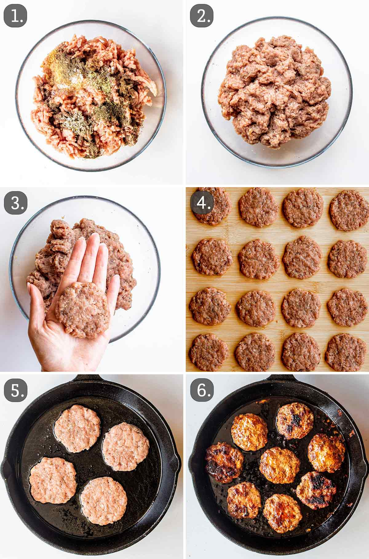 detailed process shots showing how to make homemade breakfast sausages.