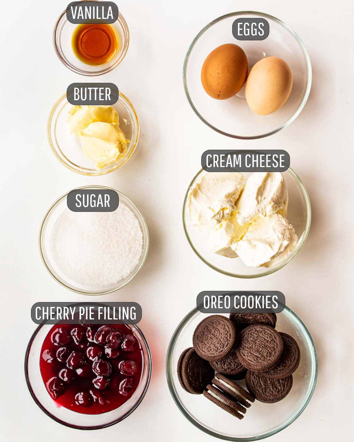 overhead shot of ingredients needed to make mini cherry cheesecakes.