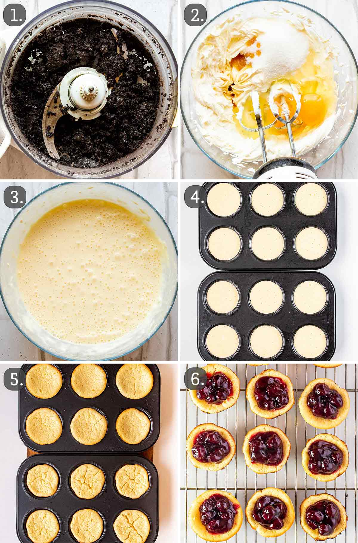 detailed process shots showing how to make mini cherry cheesecakes.