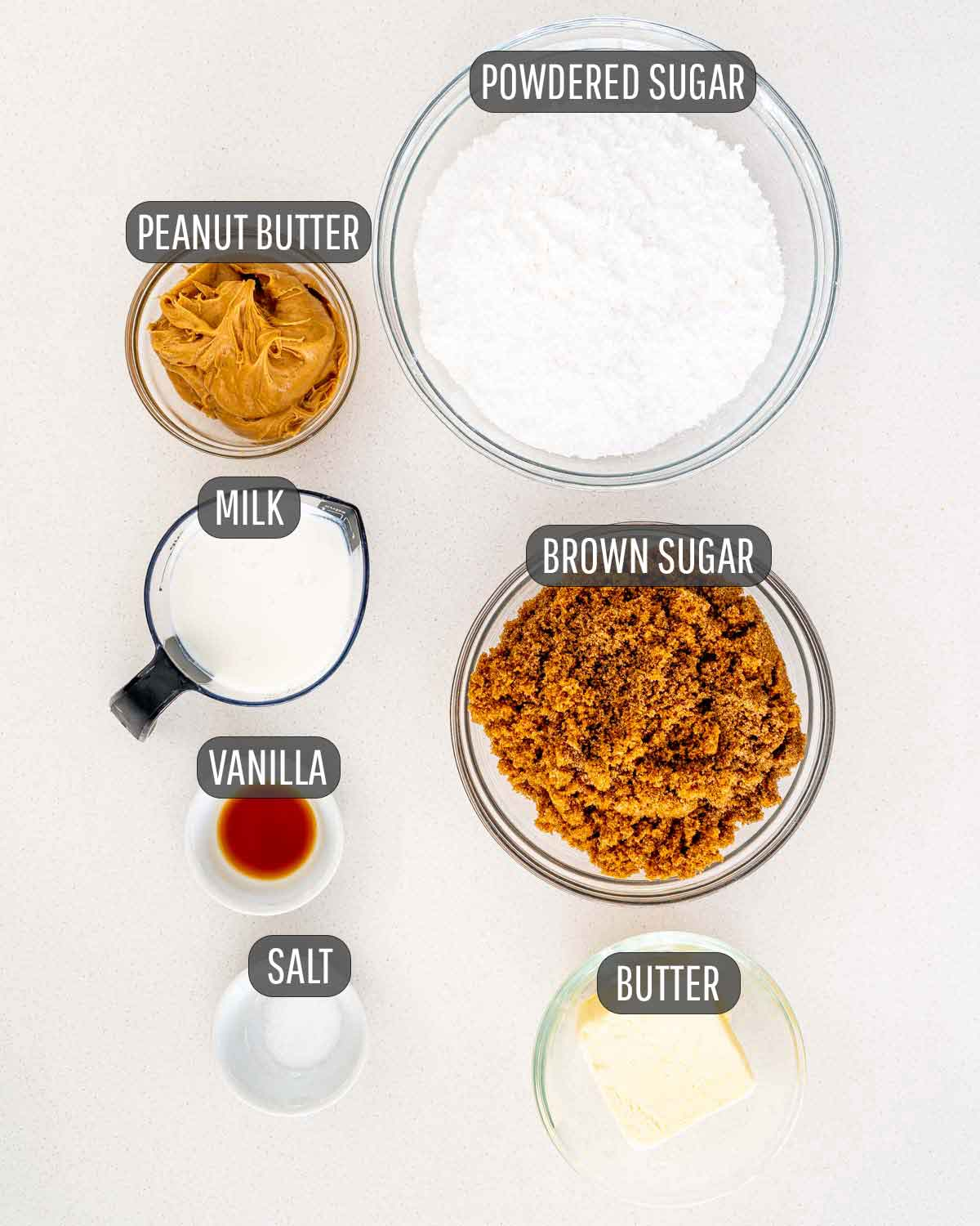 overhead shot of all the ingredients needed to make peanut butter fudge.
