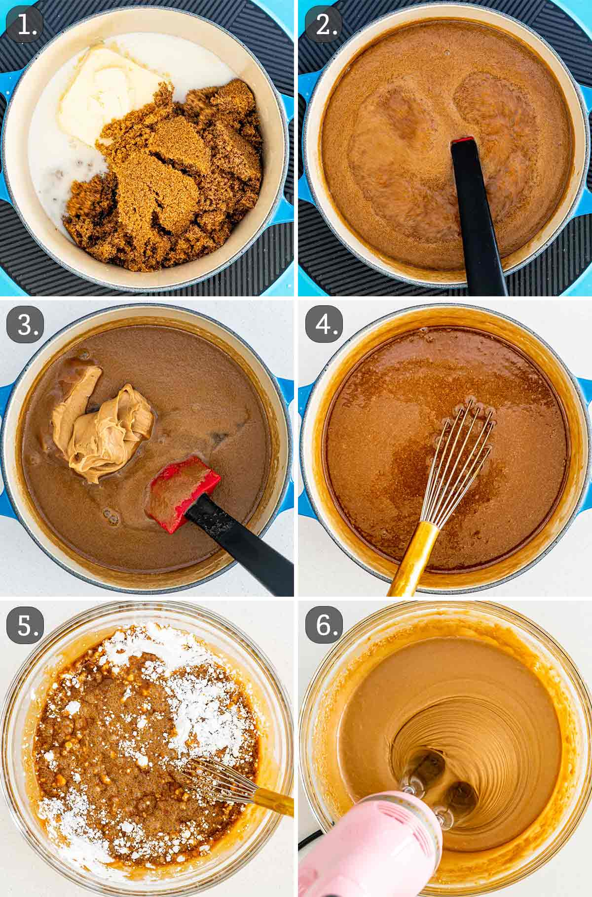 process shots showing how to make peanut butter fudge.