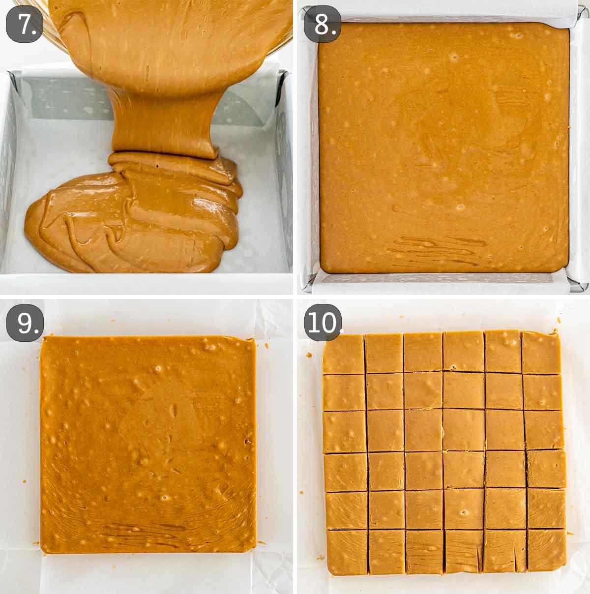 process shots showing how to pour fudge, set it and cut into pieces.