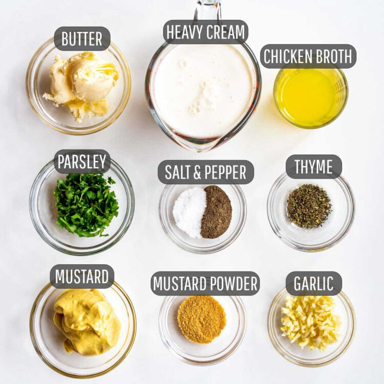overhead shot of ingredients needed to make mustard sauce.