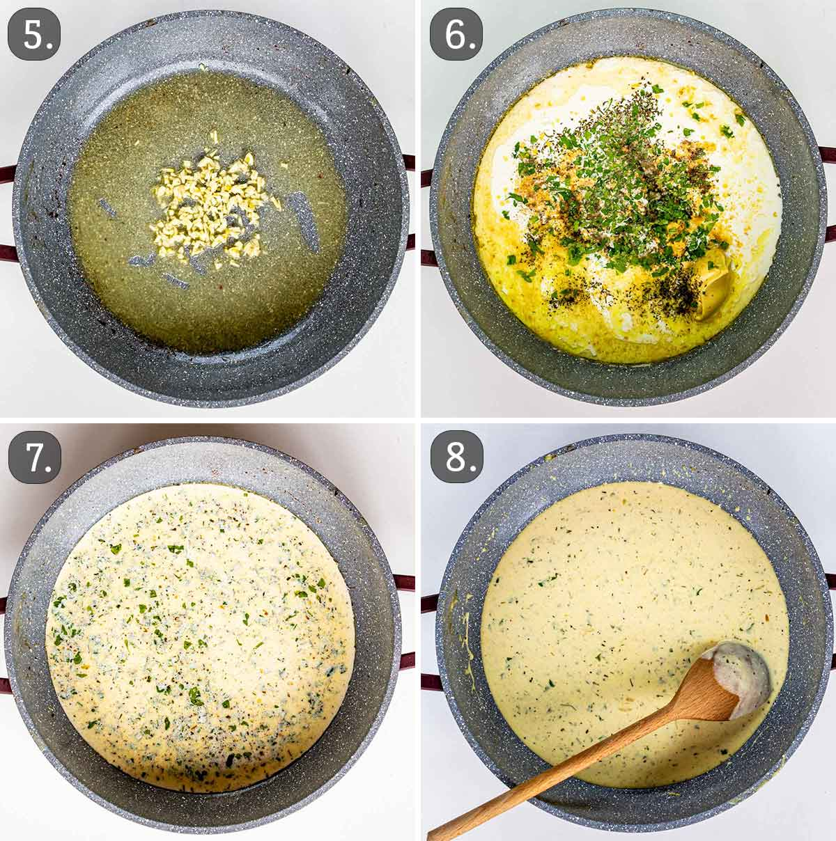 detailed process shots showing how to make mustard sauce.