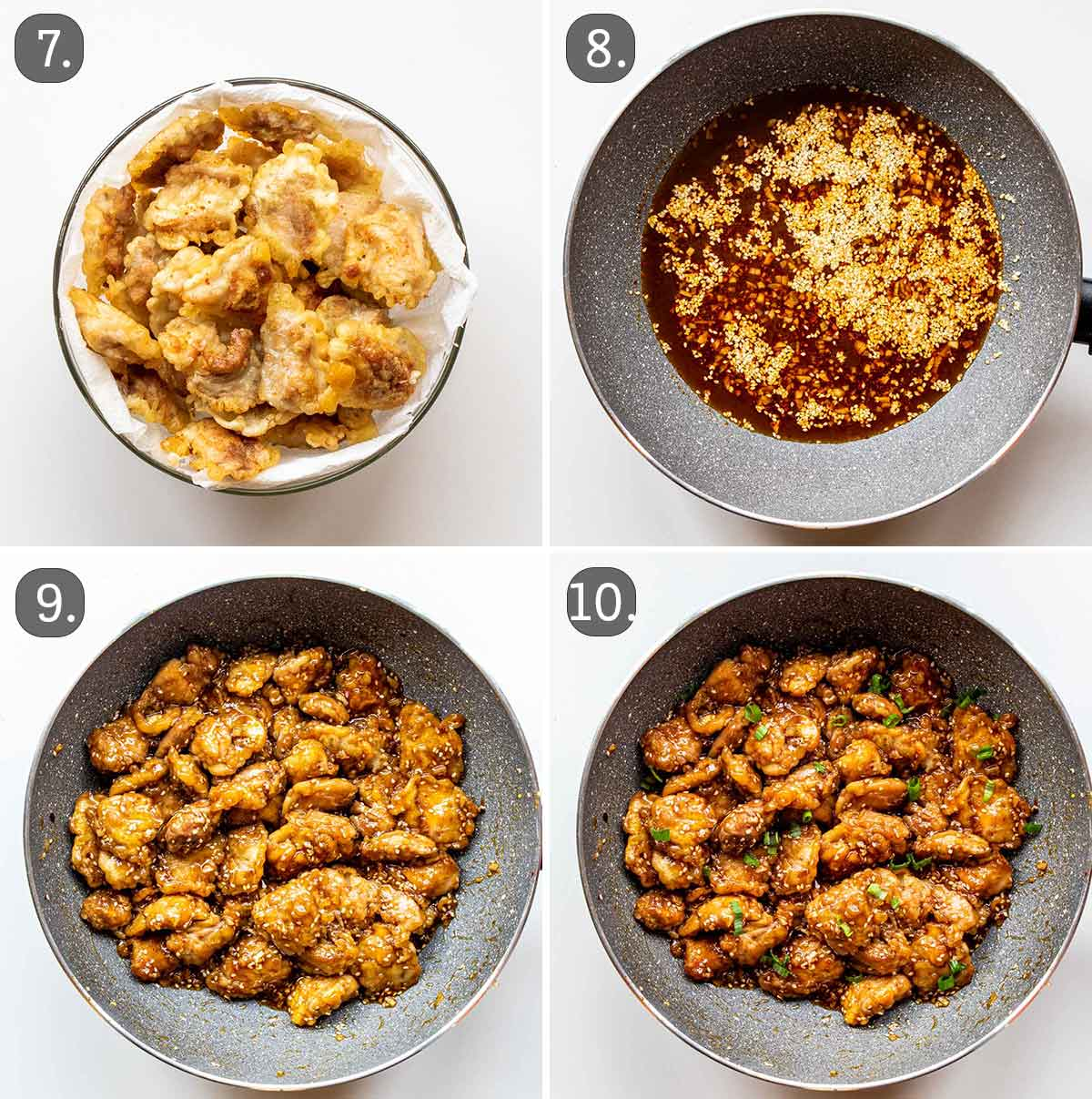 process shots showing how to make sesame chicken.