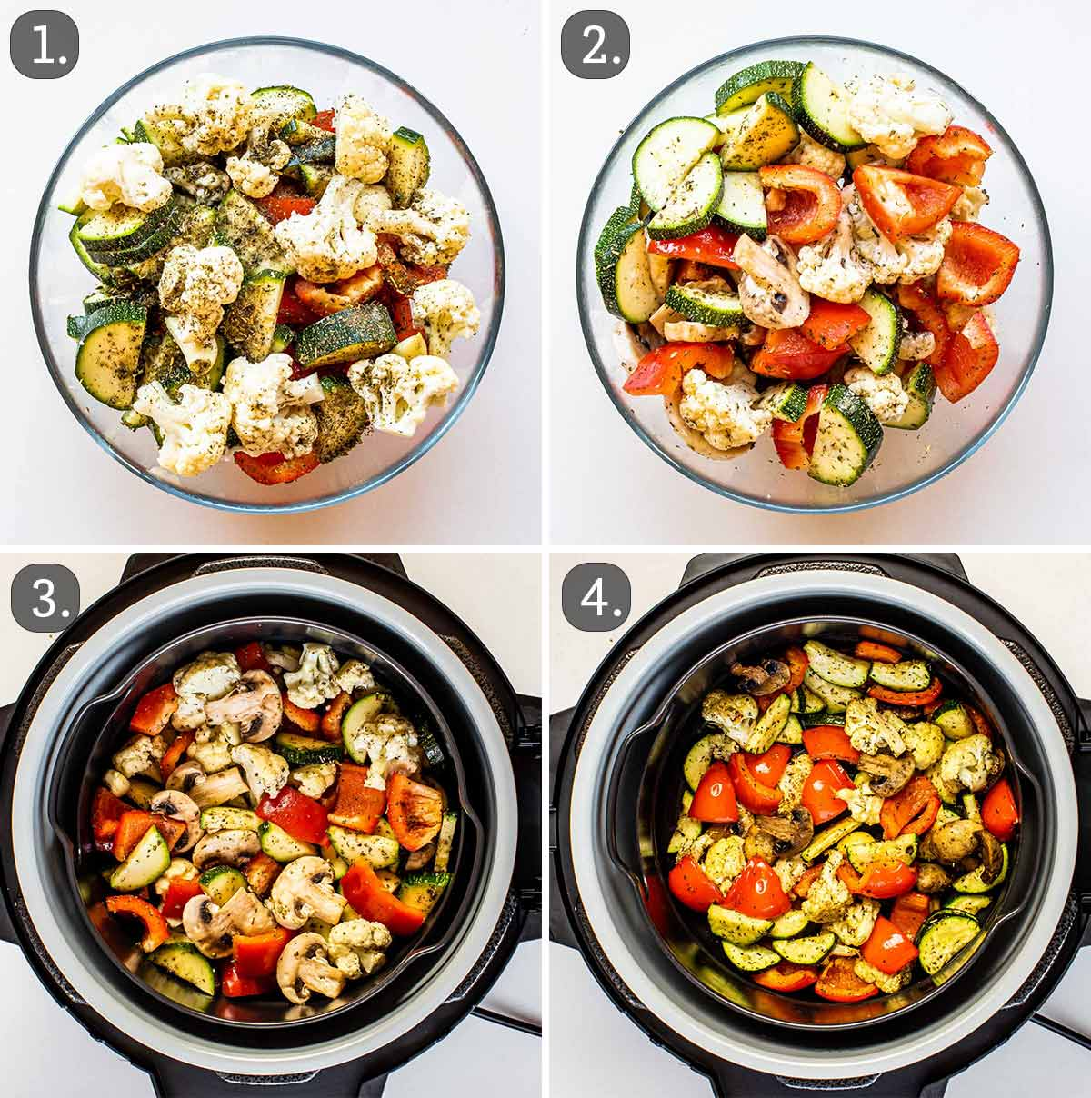 process shots showing how to make air fryer vegetables.