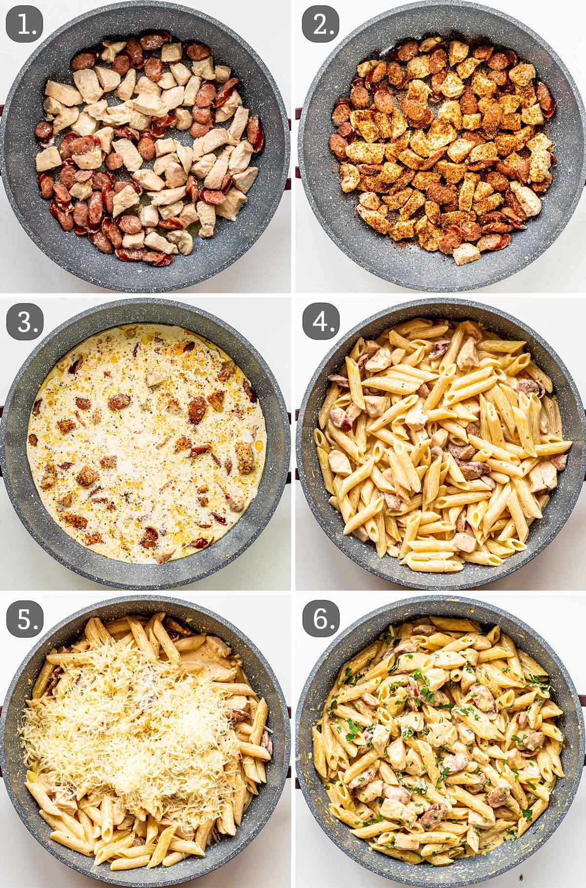 process shots showing how to make cajun chicken alfredo.