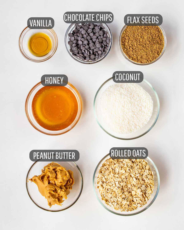 overhead shot of ingredients needed to make no bake energy bites.