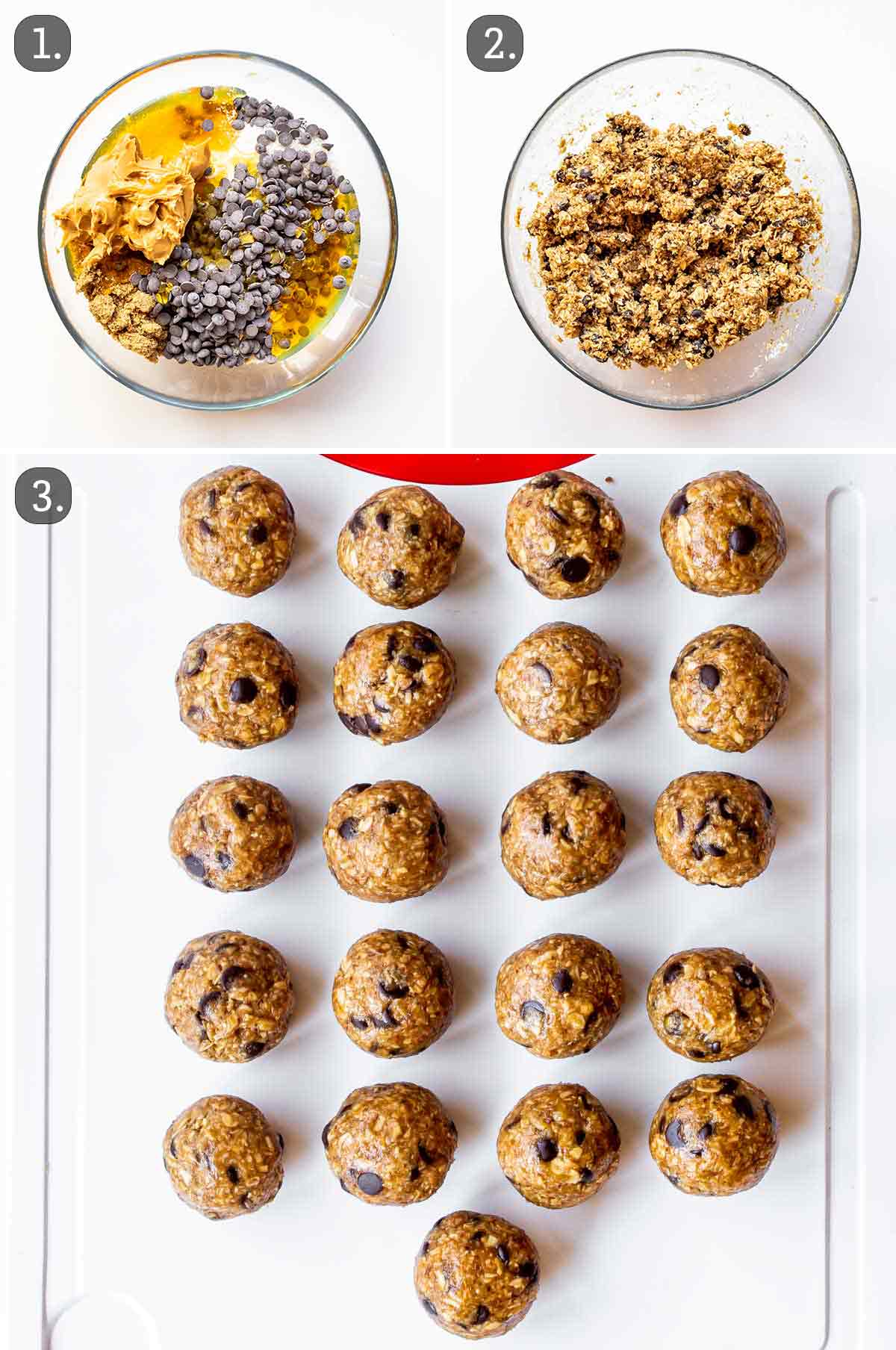process shots showing how to make no bake energy bites.