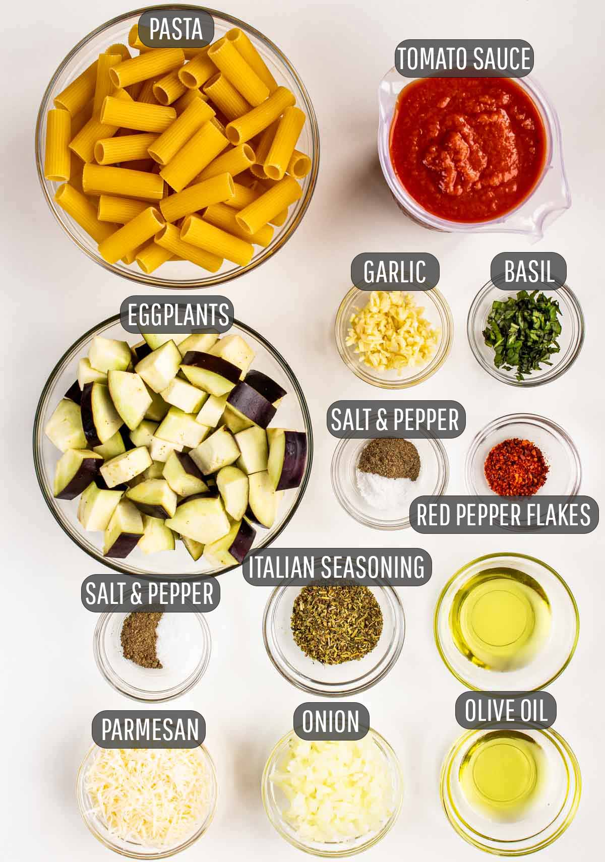 overhead shot of ingredients needed for pasta alla norma.