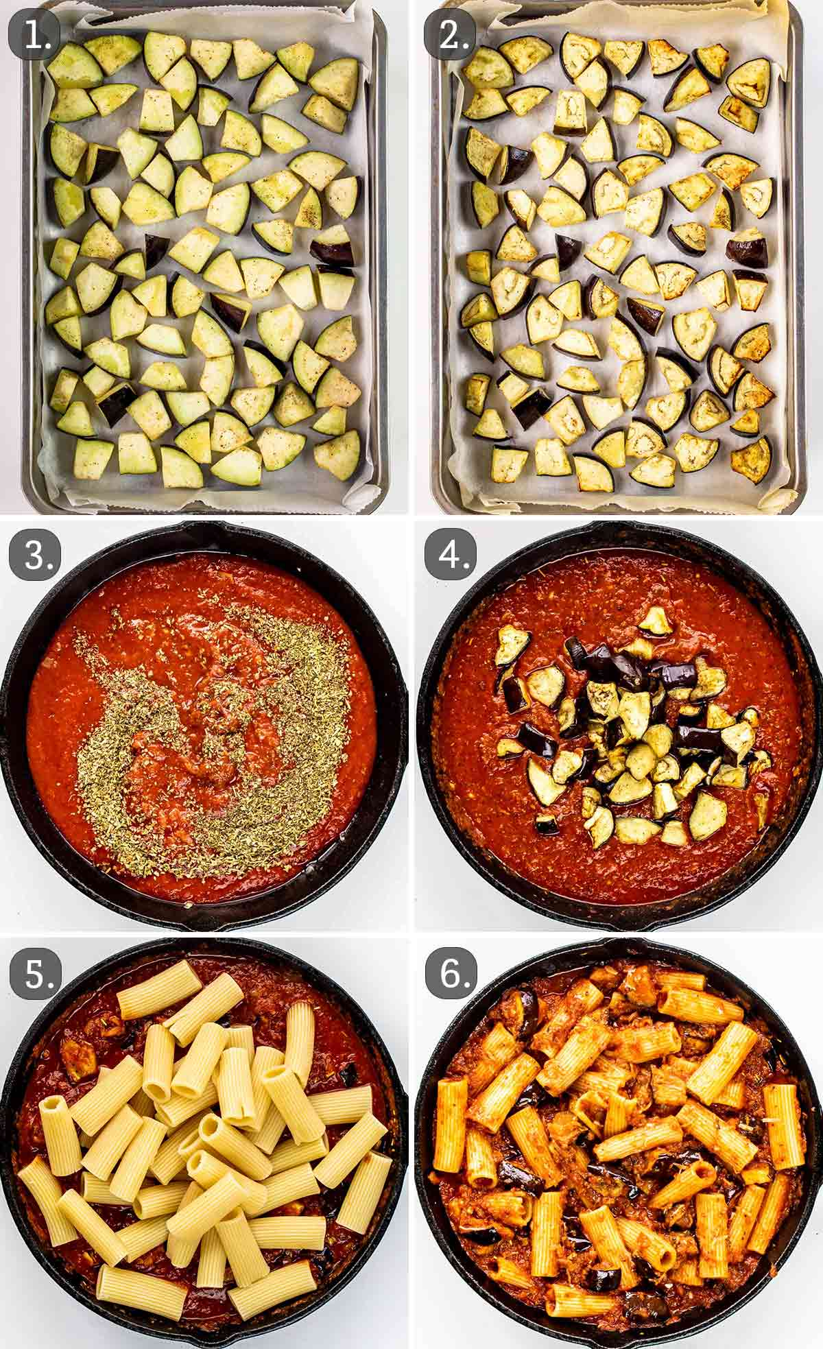 process shots showing how to make pasta alla norma.