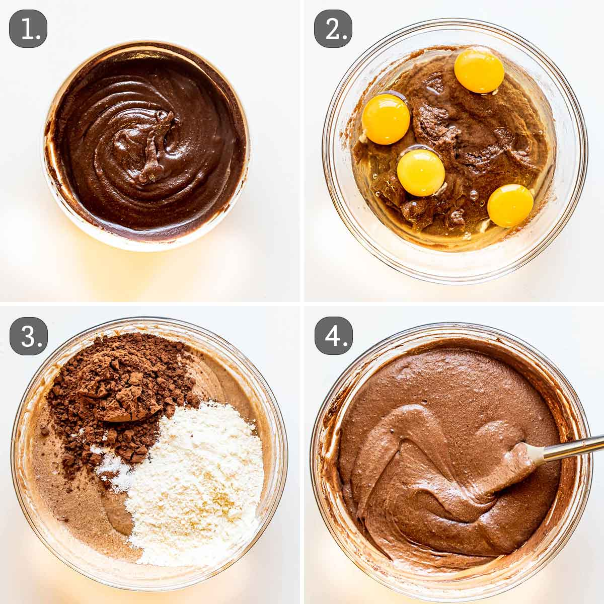 process shots showing how to make the brownie layer.