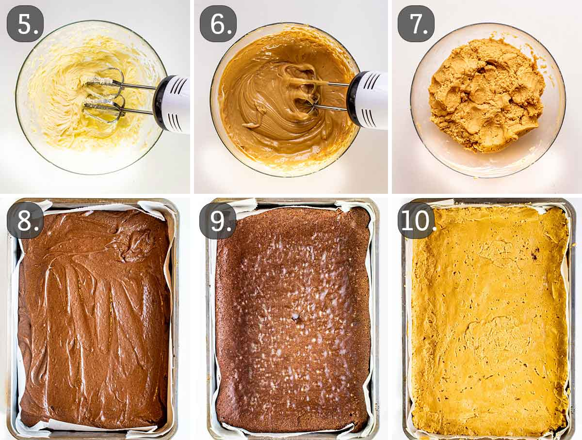 process shots showing how to layer peanut butter brownies in a pan.