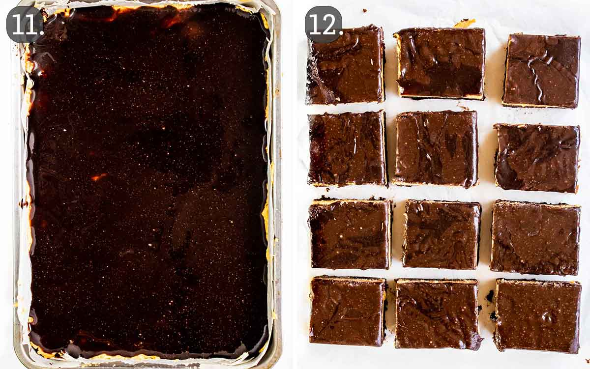 peanut butter brownies before and after cutting it in squares.