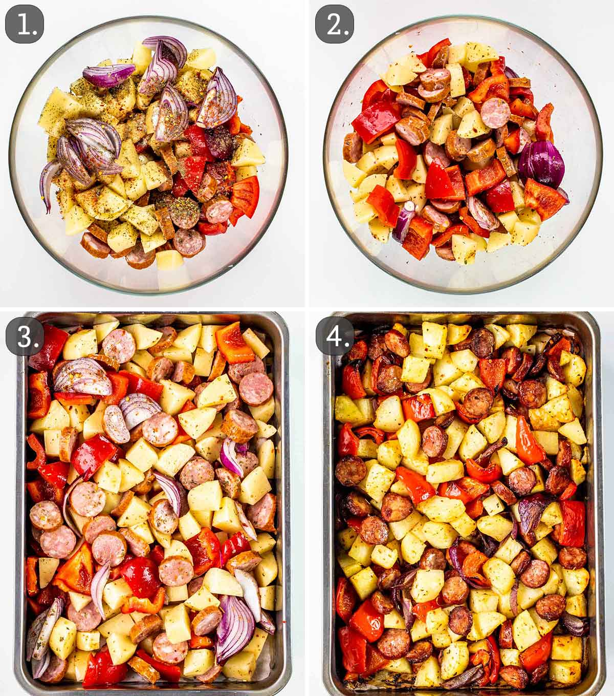 process shots showing how to make roasted sausage and potatoes.