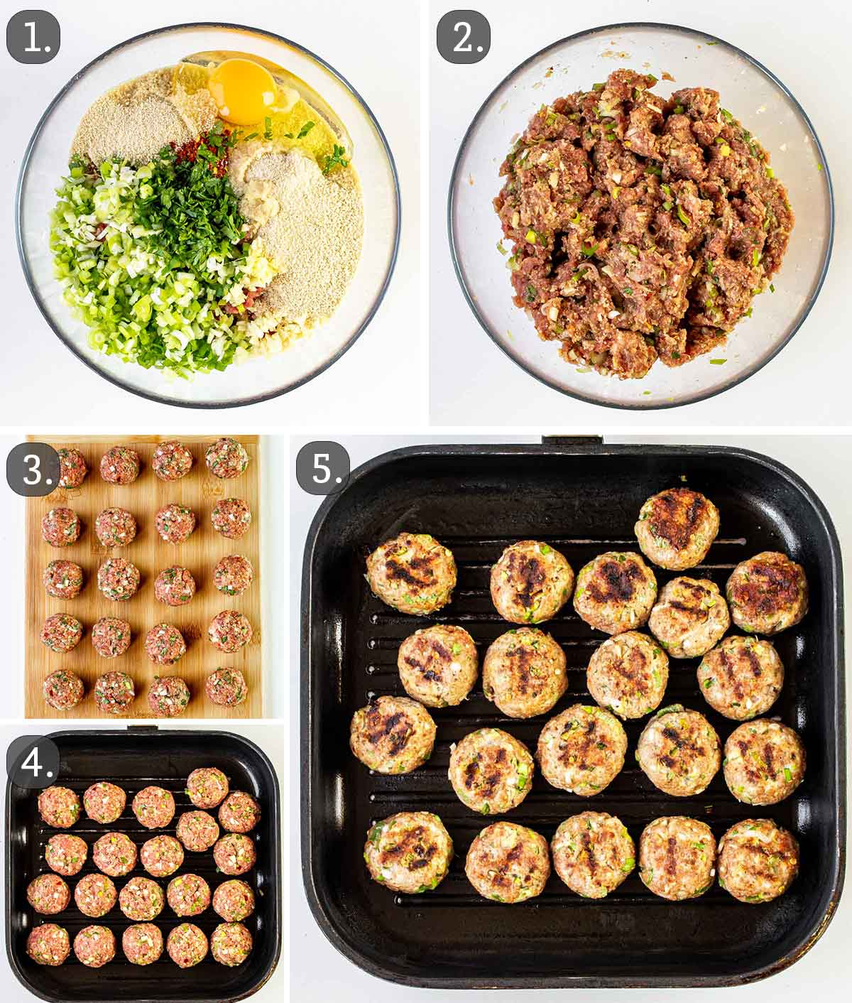 detailed process shots showing how to make grilled vietnamese meatballs.