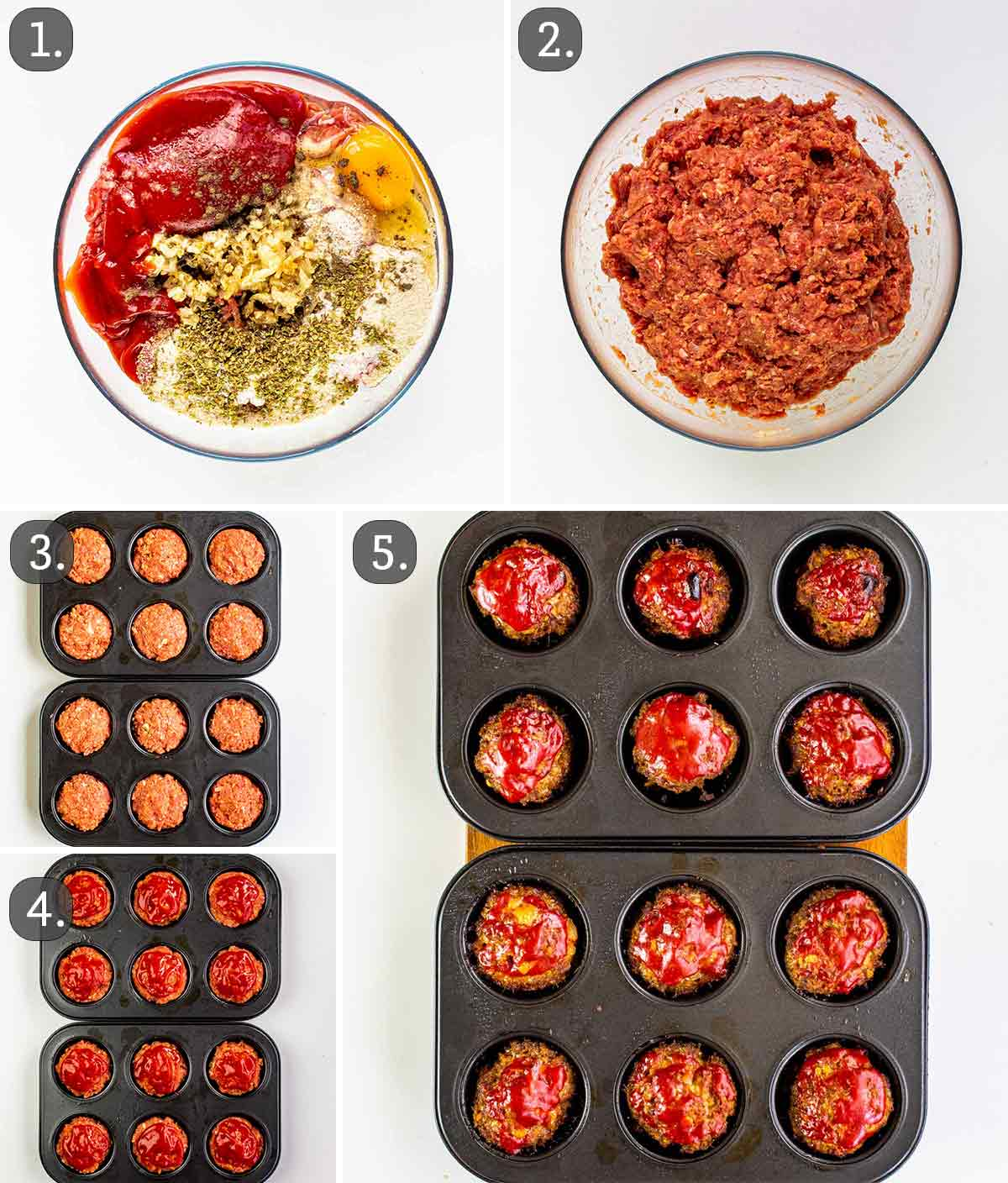 detailed process shots showing how to make meatloaf muffins.