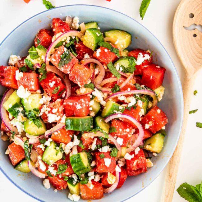 watermelon feta salad in a bowl.