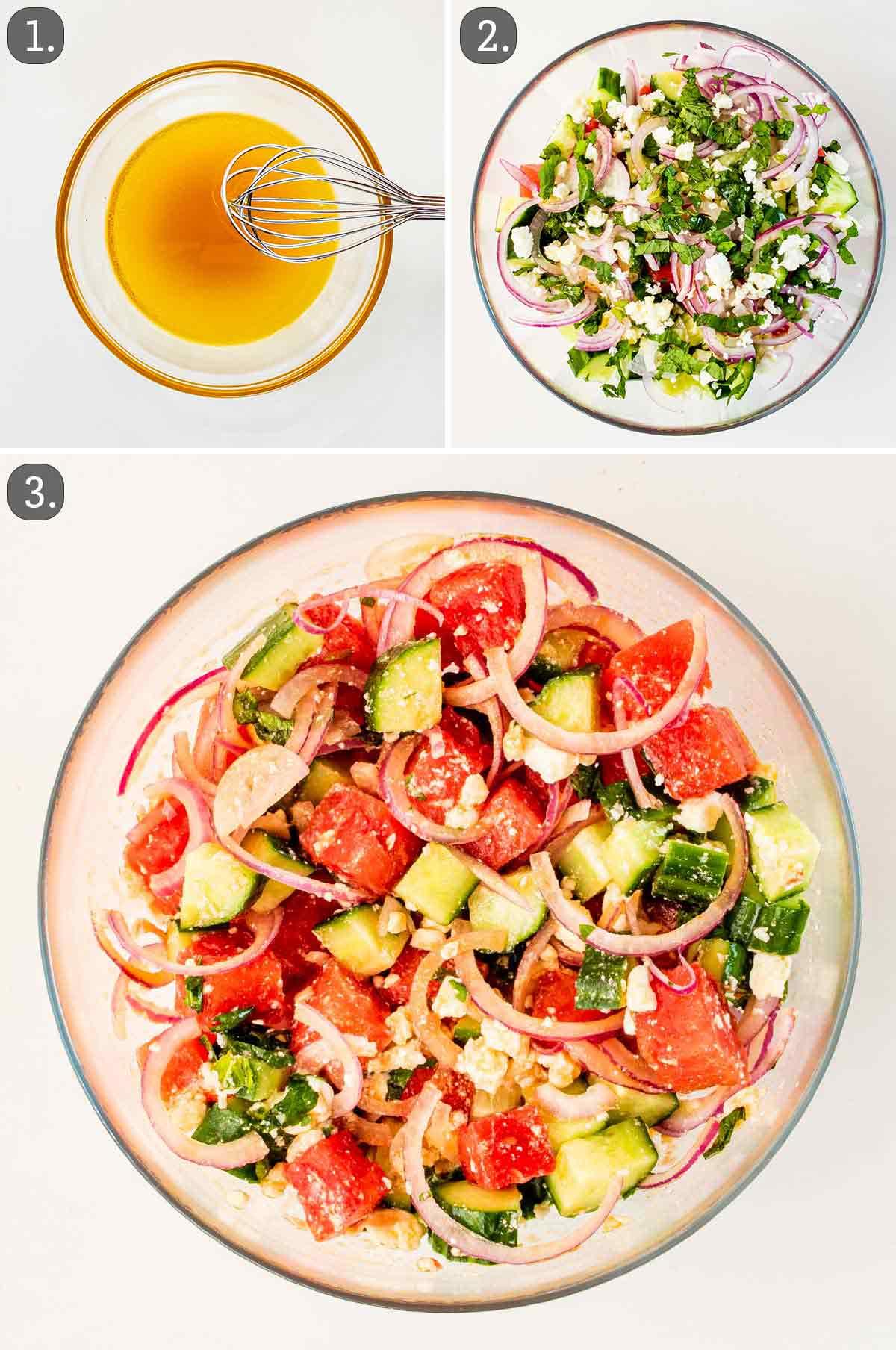 process shots showing how to make watermelon feta salad.