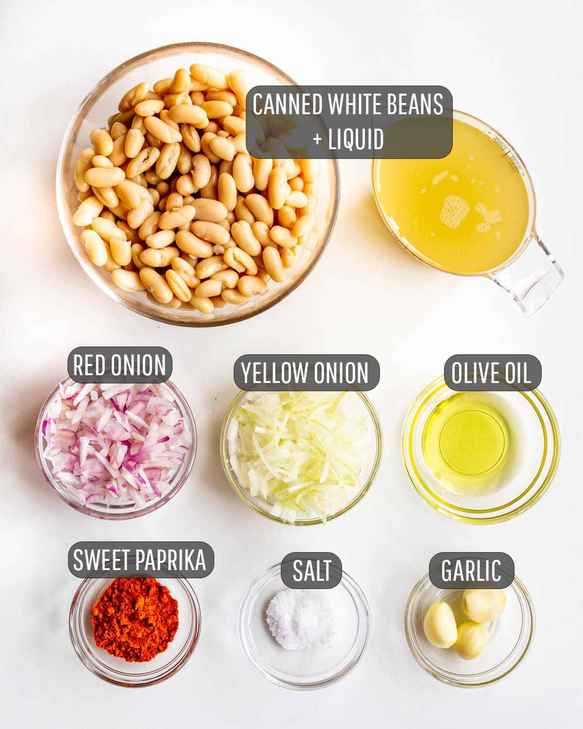 overhead shot of ingredients needed to make white bean dip.