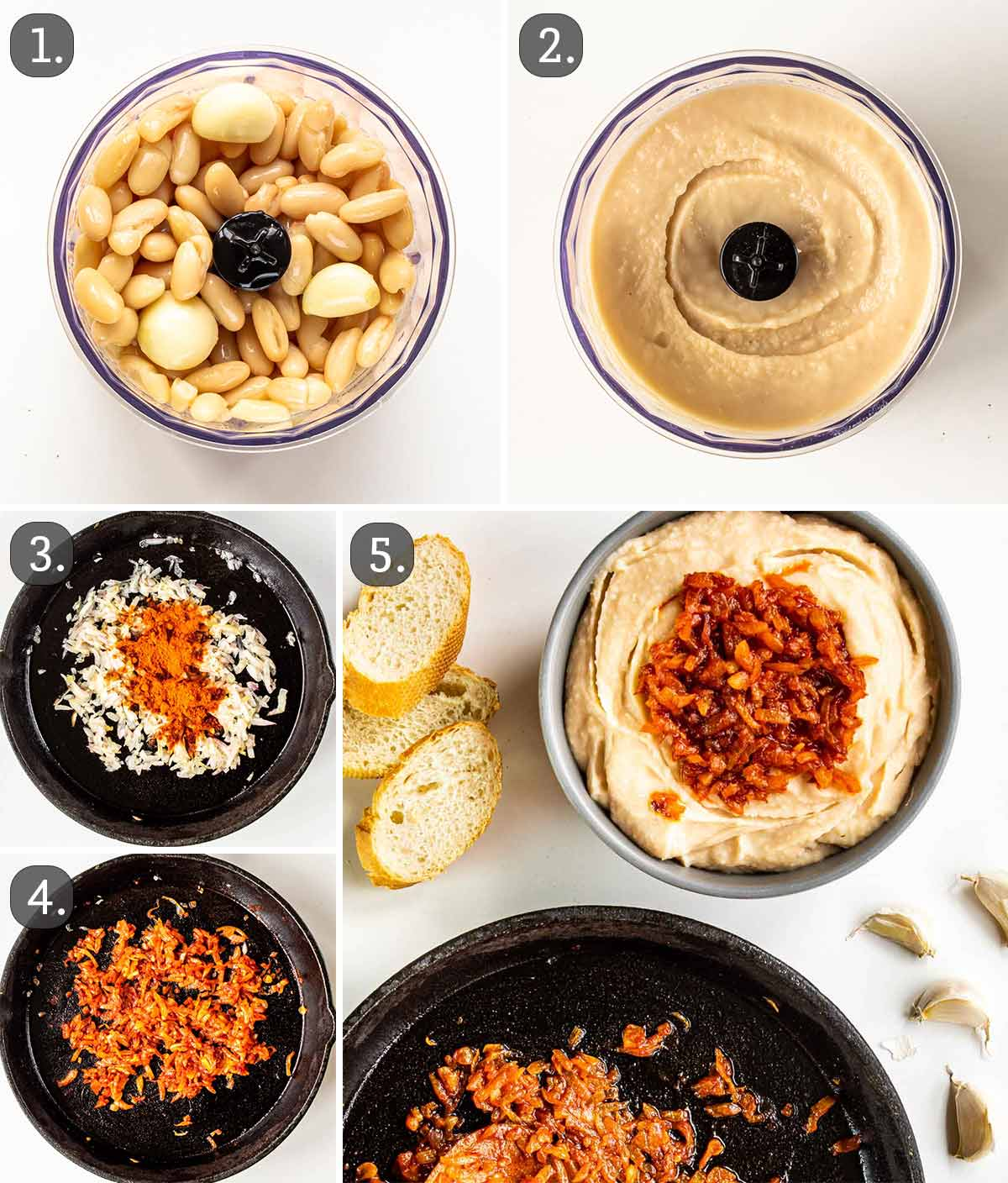process shots showing how to make white bean dip.