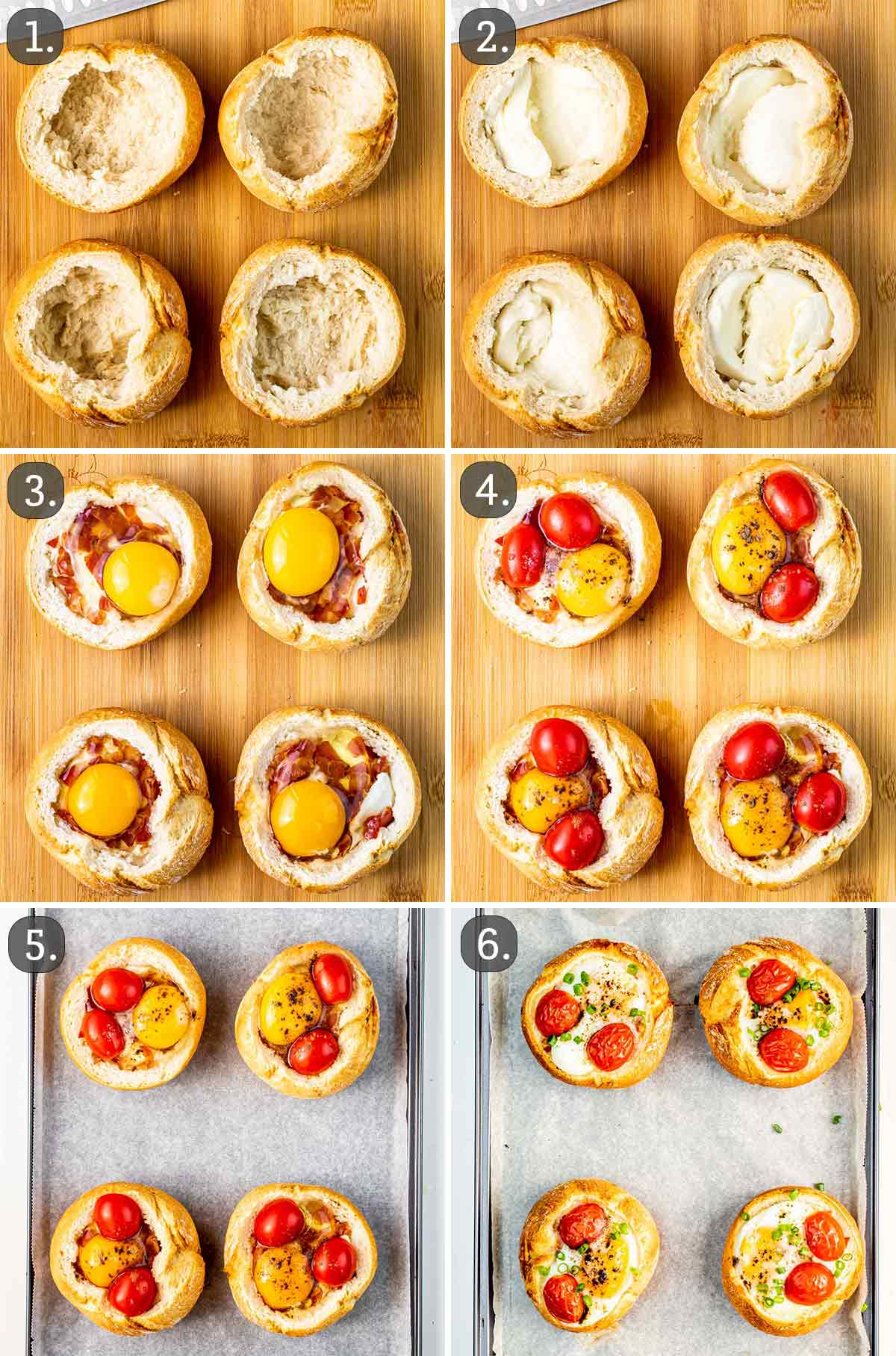 detailed process shots showing how to make eggs and bacon breakfast bowls.