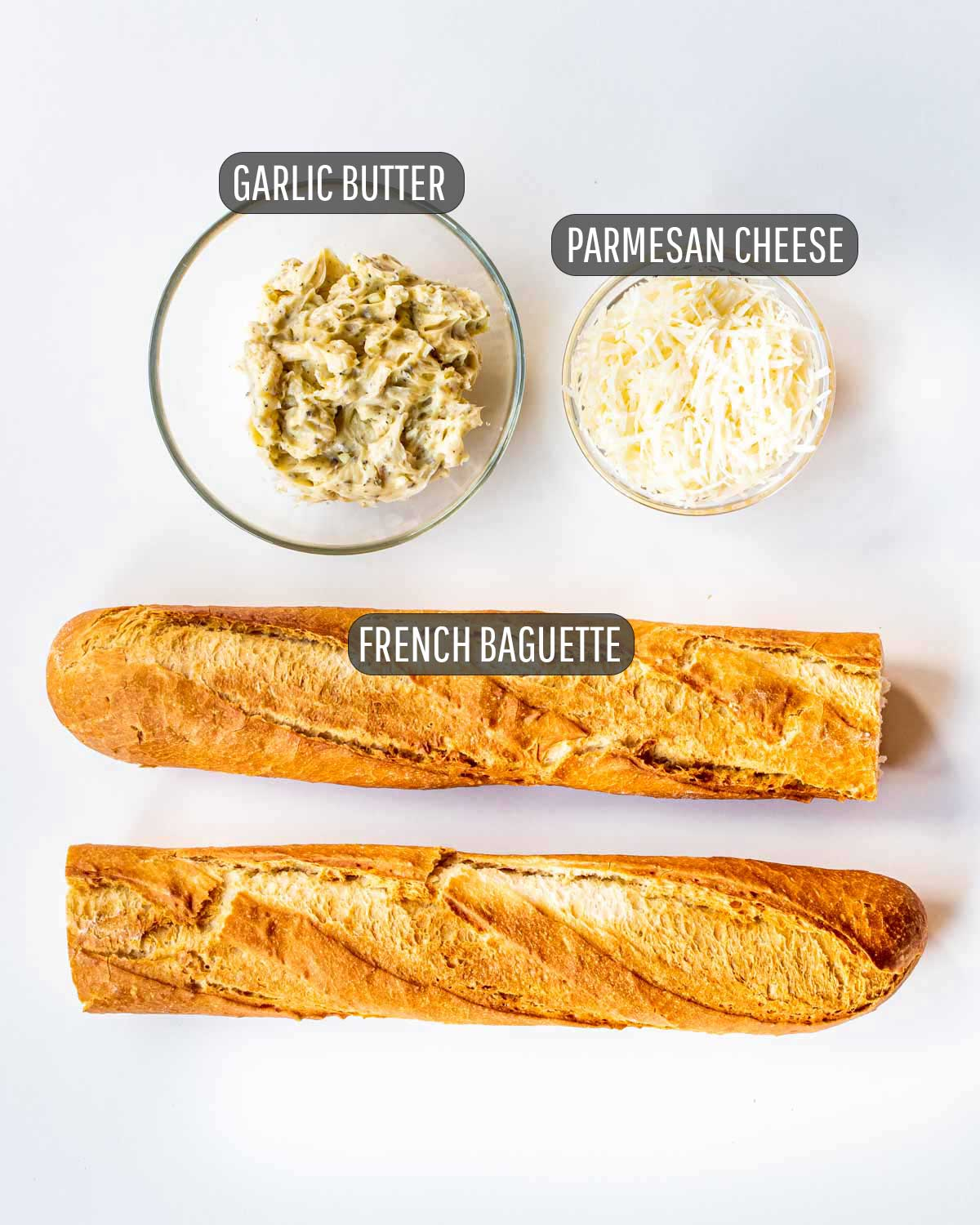 overhead shot of the ingredients needed to make garlic bread.