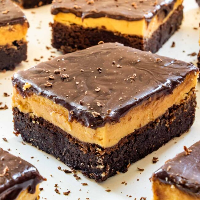 peanut butter brownie on a plate.