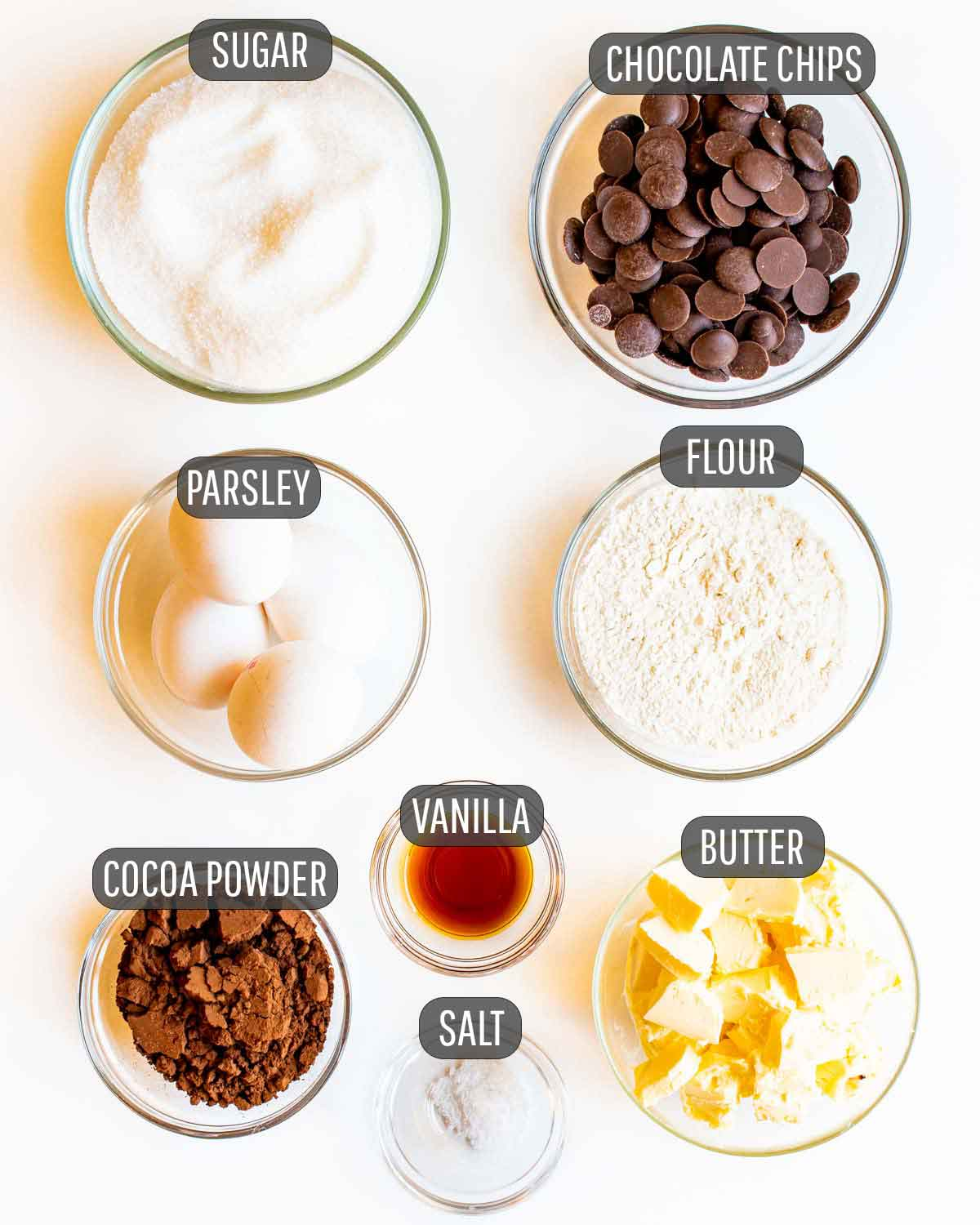 ingredients needed for the brownie layer for peanut butter brownies.