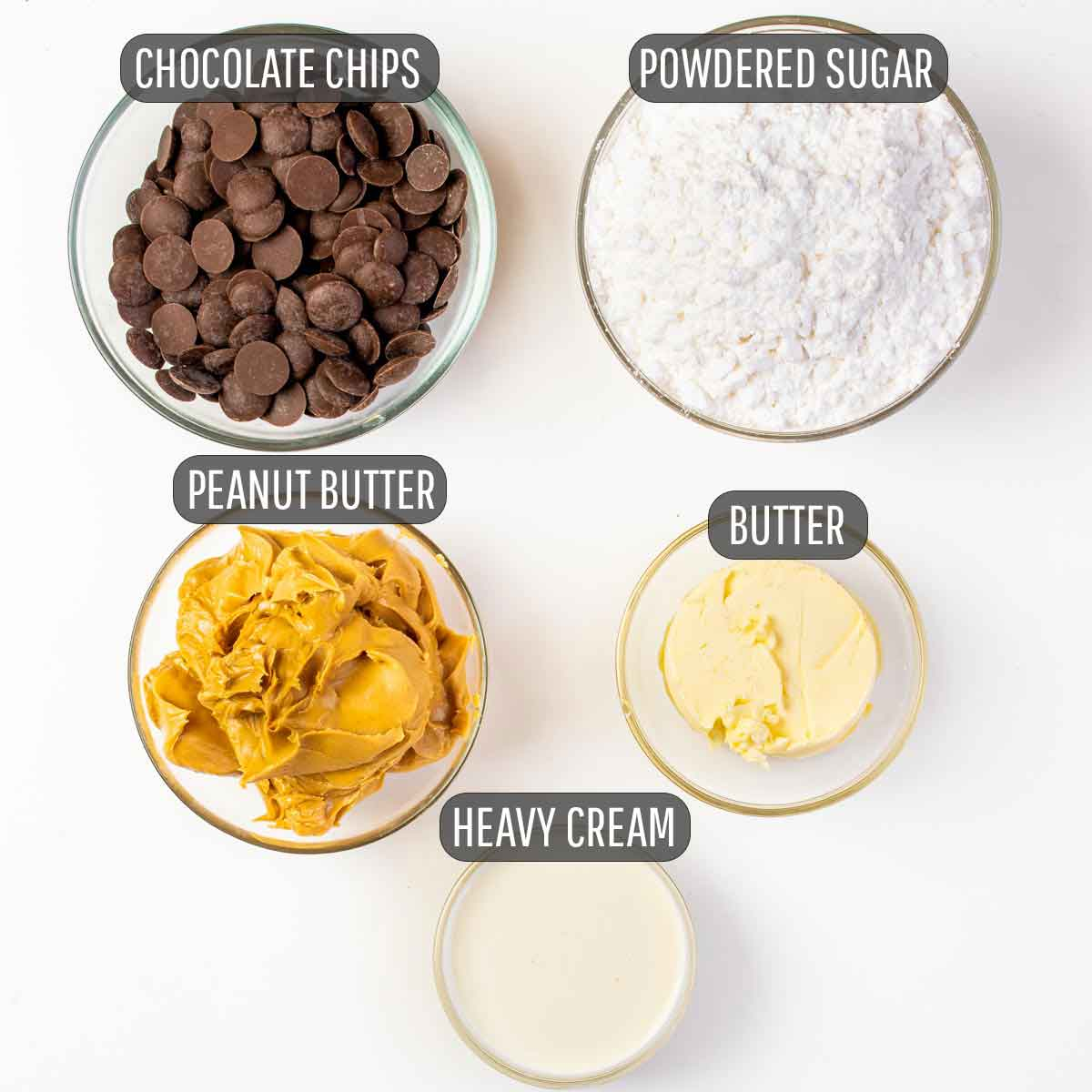 ingredients needed for the peanut butter and chocolate layer for peanut butter brownies.