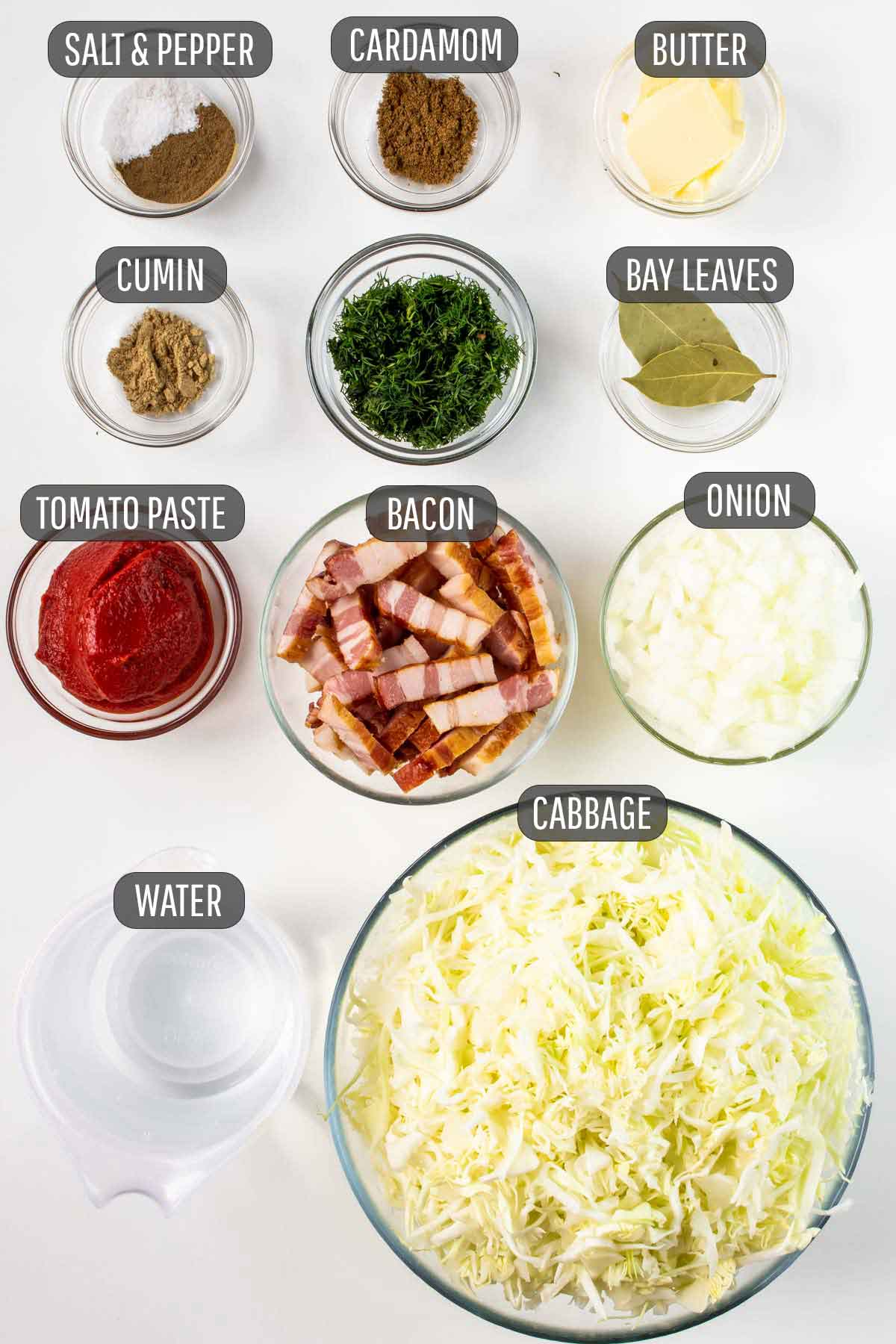 overhead shot of ingredients needed to make braised cabbage.