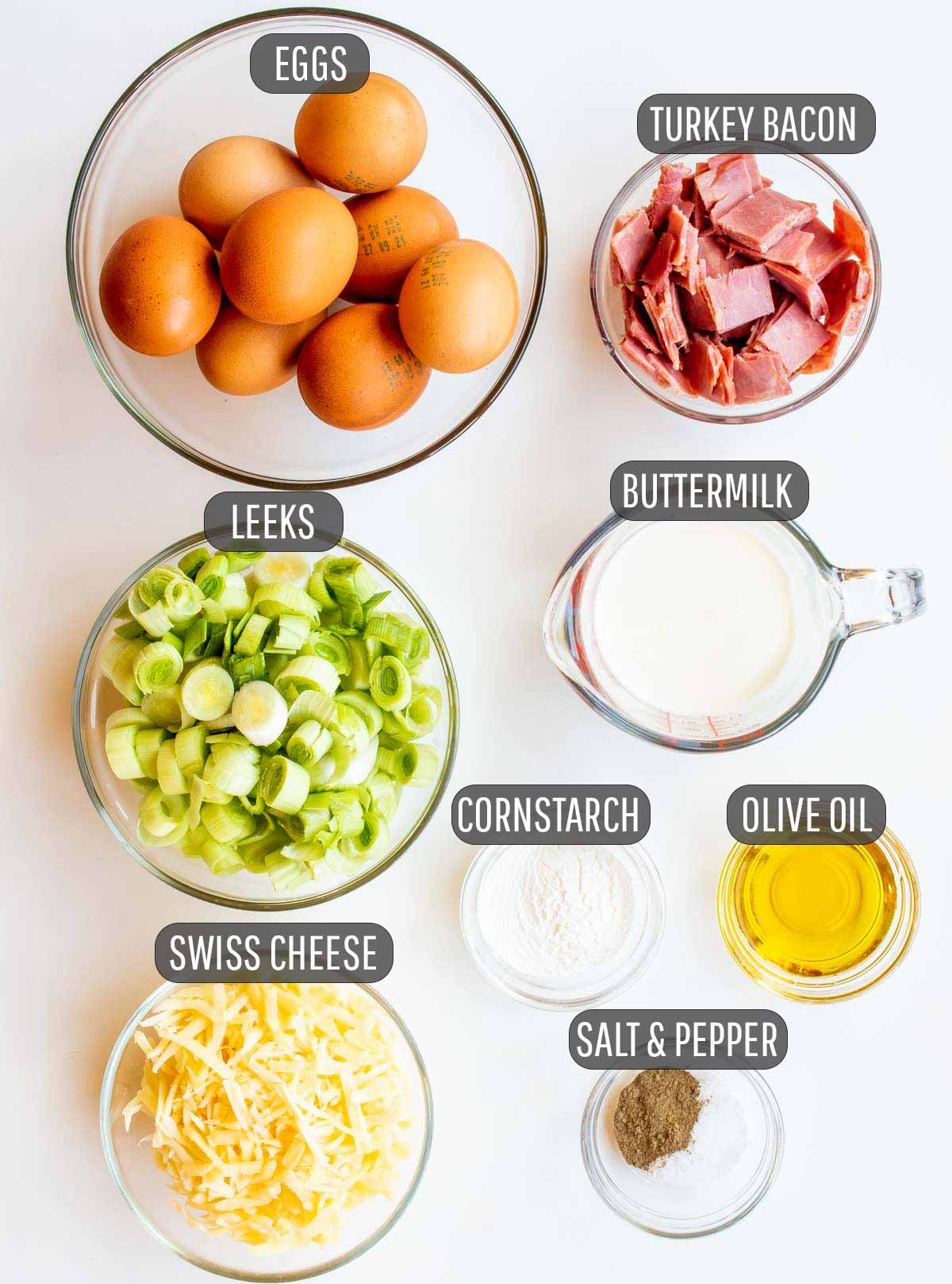 overhead shot of all the ingredients needed to make crustless quiche.