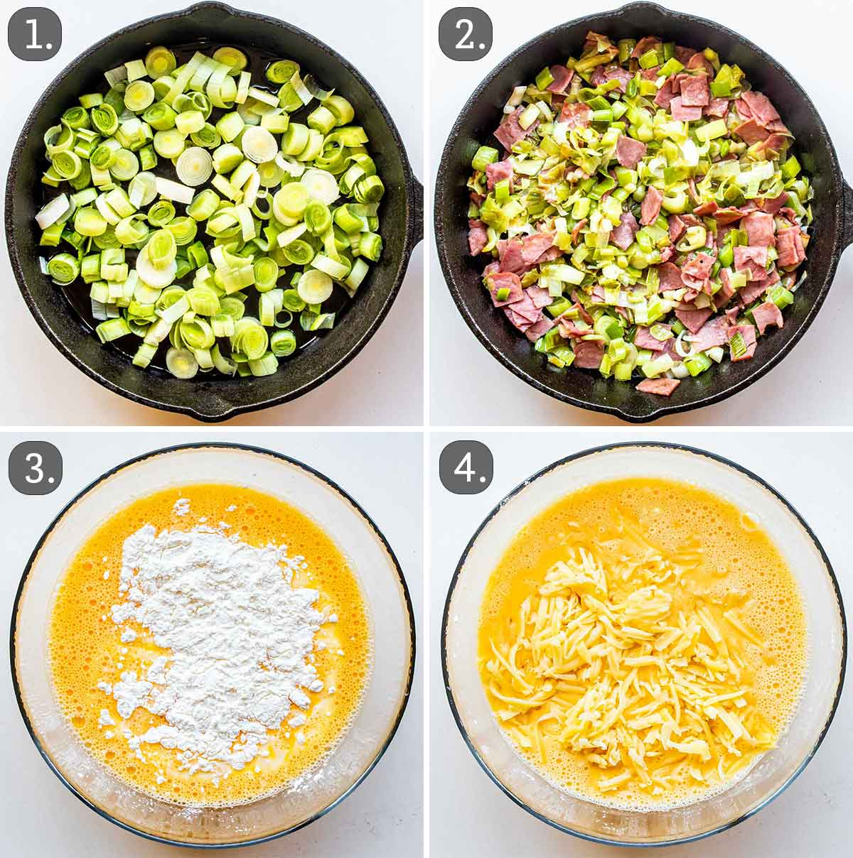 process shots showing how to make the filling for crustless quiche.