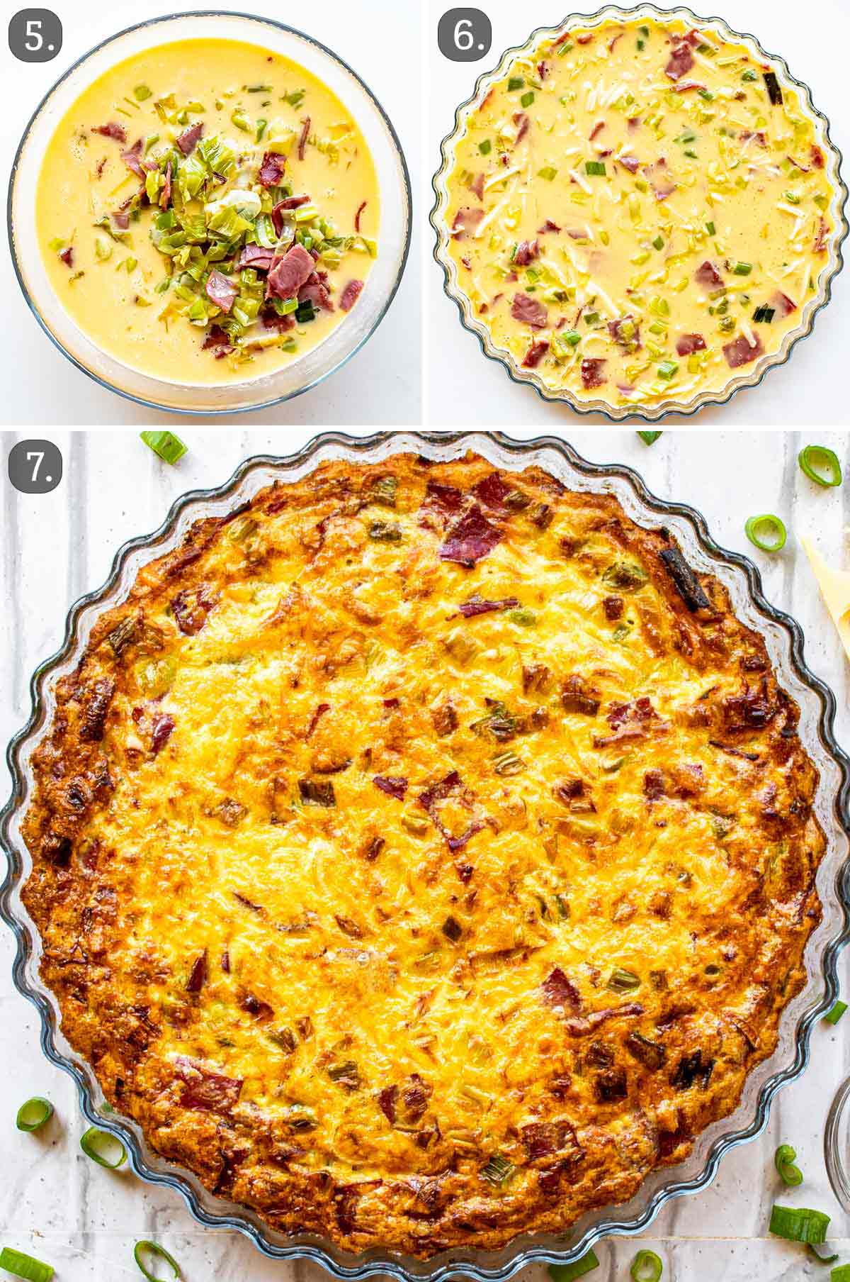 process shots showing how to bake crustless quiche.